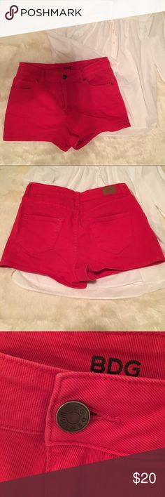 🍒BDG Bright Red High Rise Erin Shorties🍒 98% Cotton 2% Spandex  29 inch waist  Thighs are 22 inches around As always, comment with any questions and bundles of 3+ are 15% off! BDG Shorts Jean Shorts