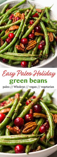 These super easyPaleo Holiday Green Beans come together in less than 10 minutes and make the perfect side to your main course - paleo, vegan, and Whole30 approved too! - Eat the Gains via @eatthegains
