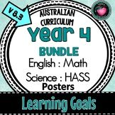 Year 4 LEARNING GOALS Bundle ENGLISH, MATHS, SCIENCE, HASS