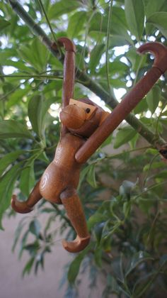 Wooden Zoo-Line Style Monkey, Vintage Mid Century Modern Bojensen Style Collectible Animal Figurine, Made to Hang Movable Limbs