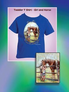 "Toddler T shirt, cowgirl and horse, tee, original art 'Cowgirl Whispers"" Soft Jersey cotton by Laurie Shanholtzer"