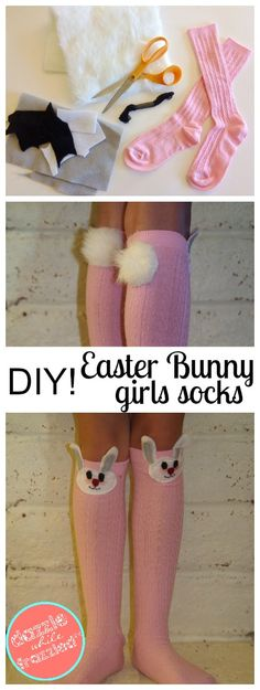DIY Easter Bunny Girls Knee High Socks, Peter Cottontail Crafts, Easter Bunny Crafts for Kids, DIY Kids Clothing Tutorials, DIY Easy Sewing Projects for Easter
