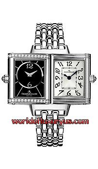 """Q2568102 -  NEW! With New Design dials. On the front is a Silvered dial with Florale Arabic Hour Numerals. On the Reverside is a Black dial enhanced by a row of diamonds on top & bottom - Diamonds are """"Top Wesselton"""" Quality F-G Color & total Weight. Please note the watch keeps only 1 timezone (same on either side). - See more at: http://www.worldofluxuryus.com/watches/Jaeger-LeCoultre/Reverso/Q2568102/219_241_1423.php#sthash.GWd1Oyu3.dpuf"""