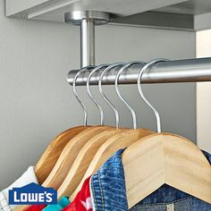 Hang gardening jackets and sweatshirts from an towel bar mounted on the underside of a garage cabinet. Ball Storage, Closet Storage, Diy Storage, Storage Spaces, Storage Ideas, Wire Shelving, Adjustable Shelving, Enclosed Trailer Cabinets, Plastic Storage Totes