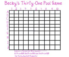 Becky Kruse's Thirty-One Gifts: Becky's Thirty-One Pool Game