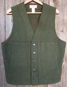 Filson-Size-44-100-Virgin-Wool-Green-Vest-Made-in-USA-NR