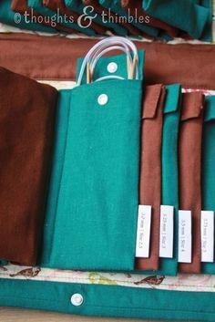 Knitting Needles, Organized : Thoughts and Thimbles: Knitting Needles, Organize. Knitting Needles, Organized : Thoughts and Thimbles: Knitting Needles, Organize… Knitting Needl Diy Knitting Needle Case, Diy Knitting Needles, Knitting Socks, Baby Knitting, Diy Knitting Needle Organizer, Knitting Machine Patterns, Knitting Charts, Yarn Storage, Art Bag