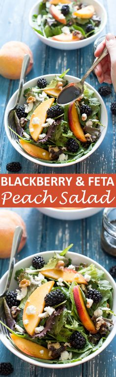 Peach, Feta and Blackberry Salad drizzled with a sweet and tangy balsamic vinaigrette. Loaded with fresh peaches, blackberries, walnuts and mixed greens!   chefsavvy.com #recipe #salad #blackberry #feta #peach #healthy