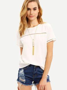 Dotfashion Plain Hollow Insert Short Sleeve Round Neck Shirt Summer Keyhole Back Tops Fashion Women Blouse Dressy Tops, Top Mode, Latest Fashion For Women, Womens Fashion, Fashion Brand, Plain Tops, Loose Shorts, 98, Blouse Online