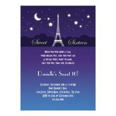 Eiffel Tower Sweet Sixteen Invitation Anniversary InvitationsOnline InvitationsBirthday