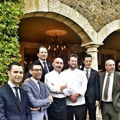Andrea Mattei and Anthony Genovese with the staff of Borgo Santo Pietro, Meo Modo and Il Pagliaccio