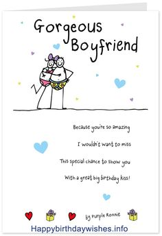 Birthday Wishes Card For Boyfriend Sayings Cards Quotes
