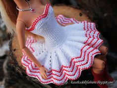 crochet dolls clothes Ravelry: Miss Santa for Barbie pattern by Oksana Lifenko - This Pattern Crochet is for Barbie dolls (also can fit Liv dolls) outfit, which include the patterns for dress, blouse and hat). Crochet Doll Dress, Crochet Barbie Clothes, Crochet Doll Pattern, Knitted Dolls, Knitted Baby, Habit Barbie, Barbie Mode, Barbie Clothes Patterns, Crochet Baby Dresses