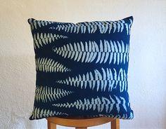 "Accent Pillow - Fern Cyanotype - 16x16"" - Indigo Blue, White"