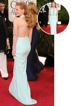 The best red carpet dresses from the back: Jessica Chastain in Calvin Klein at the 2013 Golden Globes.