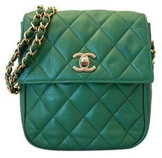 1d23b1c78769 Chanel very good (VG Emerald Green Quilted Lambskin Sling Crossbody Classic  Flap Bag - ShopStyle Shoulder