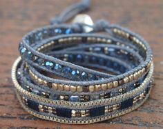 5 times Wrap Bracelet Green Crystal beaded mix Boho by G2Fdesign