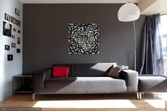 Endless  Black and White Abstract Line Art Original Acrylic painting by Kim W. Nolan