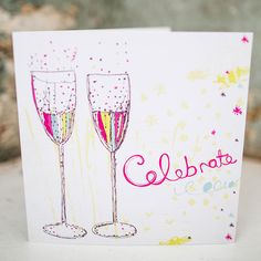 'Champagne Celebration' Card exclusively hand drawn & designed by Rachael! Professionally printed in the UK.