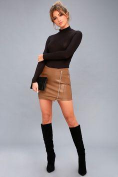 Tough Stuff Tan Vegan Leather Mini Skirt e508c6a55