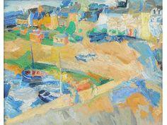 Vente le dimanche 26 juillet par Denis Herbette à Doullens : Menchu Gal. (1919-2008). « Port avec bateaux ». Toile signée. H.46 L.55. Estimation : 15 000 € - 20 000 €