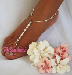 how to make foot jewelry for beach wedding | Barefoot Sandals Foot Jewelry Beach Wedding White AB 2pc Set FJ 063 ...