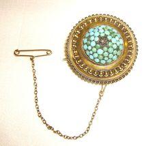 Georgian brooch w/ Locket Back, Pave Persian Turquoise & 15K Gold