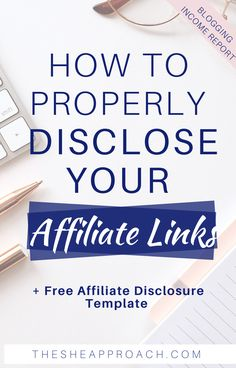 If you are using affiliate links on your blog and you want to make sure that you are disclose them properly, this posting is surely for you! This post will show you how to properly disclose your affiliate links, and if you don't know how to phrase yours, you can also download my examples and my free affiliate disclaimers templates below. #affliatelinks #affiliatemarketing #bloggingtips Content Marketing Strategy, Business Marketing, Business Tips, Online Business, Marketing Ideas, Marketing Tools, Creative Business, Digital Marketing, Blogging For Beginners