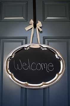 oval silver platter with chalkboard paint
