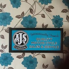 Ajs Motorcycles Sales And Service Dealer Sign Illuminated Workshop Sign Man Cave