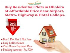 Buy Residential Plots in Dholera (India's First Smart City) near Dholera International Airport, Expressway, Metro & Hotel Gallops at Best Rates.