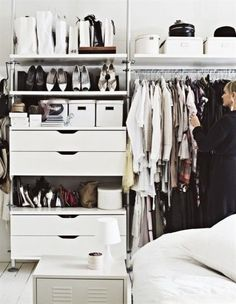 IKEA Stolmen, a very nice open closet concept Ikea Closet, Closet Bedroom, Home Bedroom, Ikea Bedroom, Bedroom Decor, Open Wardrobe, Wardrobe Closet, Wardrobe Storage, Clothes Storage