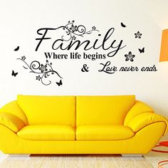 EmiracleZe(TM) Warm and Sweety Family Love Removable Mural Wall Stickers Wall Decal for Living Room Home Decor