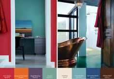 Key Influences: Afro-chic, colour-blocked geometrics, folk-inspired art and craft, retro brights, bold minimalism. Living Room Colors, My Living Room, Colour Schemes, Color Combinations, Color Palettes, Plascon Colours, Colour Story, Restaurant Bar, Bold Colors