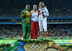 (L-R) Silver medalist, Sunette Viljoen of South Africa, gold medalist, Sara Kolak of Croatia, and bronze medalist Barbora Spotakova of the Czech Republic, pose on the podium during the medal ceremony for the Women's Javelin Throw on Day 14 of the Rio 2016 Olympic Games at the Olympic Stadium on August 19, 2016 in Rio de Janeiro, Brazi