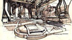 spaceship Interior by Syd Mead Spaceship Interior, Futuristic Interior, Diesel Punk, Syd Mead, Alien Isolation, 3d Architecture, Art Deco, Environment Concept Art, Visionary Art
