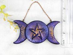 Triple Moon Pentacle Ornament / Christmas Yule Tree Ornament image 3 Ornaments Image, Clay Ornaments, Christmas Ornaments, Wiccan Decor, Wiccan Altar, Moon Witch, Pagan Witch, Witch Jewelry, Pagan Jewelry
