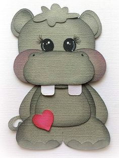 Baby Buddies Hippo Premade Paper Piecing Animal Kids By My Tear Bear *kira* Kids Cards, Baby Cards, Baby Scrapbook, Scrapbook Paper, Paper Art, Paper Crafts, Crafts For Kids, Arts And Crafts, Paper Piecing Patterns