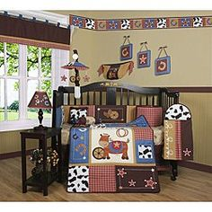 GEENNY Boutique Crib Bedding Set, Horse Western Cowboy, 13 Piece GEENNY