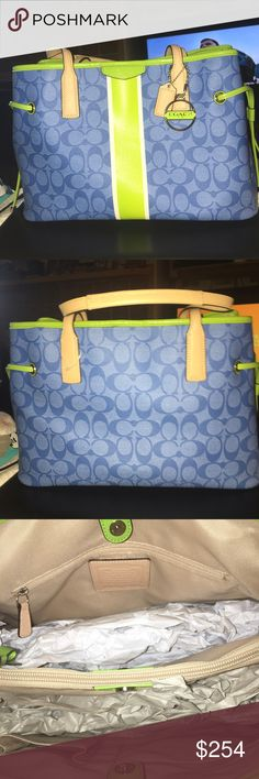 """Coach Striped Drawstring Carryall F29064 NWOT Coach Carryall F29064  is a great shade of blues and neon green, it's a gotta see bag! Great for summer! It has 3 compartments the middle zips, 1 zip and  multi slip pockets inside, silver hardware magnetic closure and measures 14 X 12 X 7 handles have a 8"""" drop Coach Bags Shoulder Bags"""