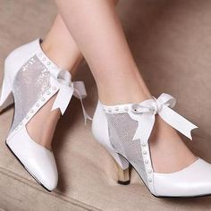 White sheer lace high heels shoes