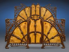 Art Nouveau bed, cast iron, with mother-of-pearl inlaid wood panels, ca 1900