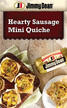 Bring the whole family to the breakfast table with this hearty mini quiche Made with savory Jimmy Dean Pork Sausage, veggies and cheddar cheese. Breakfast Sausage Recipes, Best Breakfast Casserole, Breakfast Quiche, Brunch Recipes, Quiche Muffins, Morning Breakfast, Breakfast Appetizers, Egg Muffins, Sausage Quiche