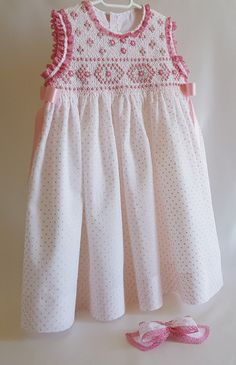 VESTIDO SMOCK TALLA 2 vestido niña punto smok-plumeti blanco | Etsy