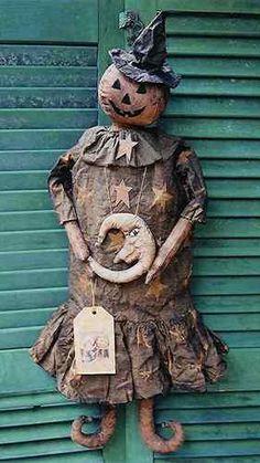 Primitive Folk Art Halloween Bewitched Pumpkin Doll