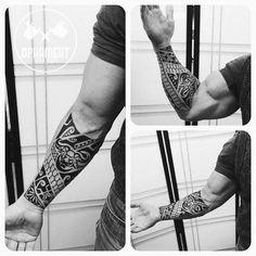 Ornamental tattoo on forearm by Aleksandr - Maori Tattoo Arm, Tatau Tattoo, Samoan Tattoo, Forearm Tattoo Men, Chest Tattoo, Slavic Tattoo, Norse Tattoo, Nature Tattoos, Body Art Tattoos