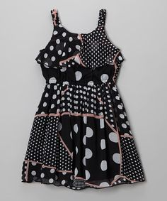 da1ef067 Take a look at this Black & White Polka Dot Patchwork Dress - Girls by