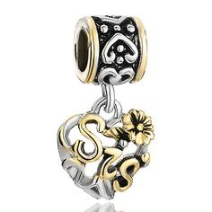 Heart Love Flower Sis Dangle Sister Beadss Pandora Chamilia Compatible Charmed Sisters Bracelet Charms