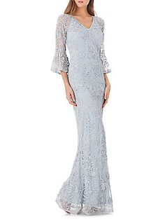 JS Collections Beaded Mesh Mermaid Gown