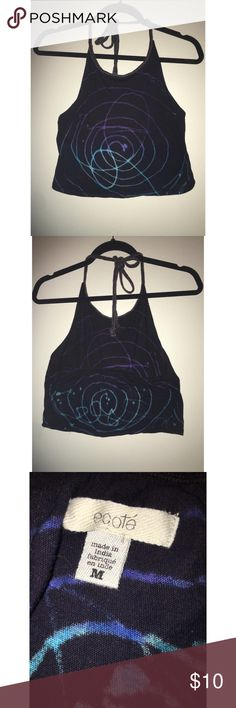 Tie dye halter crop top Tie dye halter top from Urban Outfitters. Cool rope detailing that ties around the neck. Only worn once! Offers accepted 💕✨ Ecote Tops Crop Tops